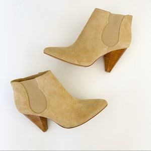 Joie Tan Suede Ankle Boot Dalton Stacked Heel 39